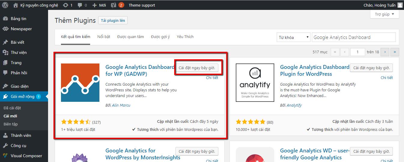 Cách cài Google Analytics cho WordPress