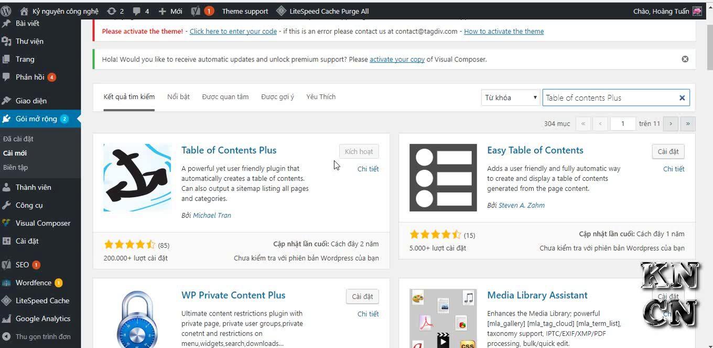Tạo mục lục cho bài viết Wordpress bằng Plugin Table Of Contents Plus