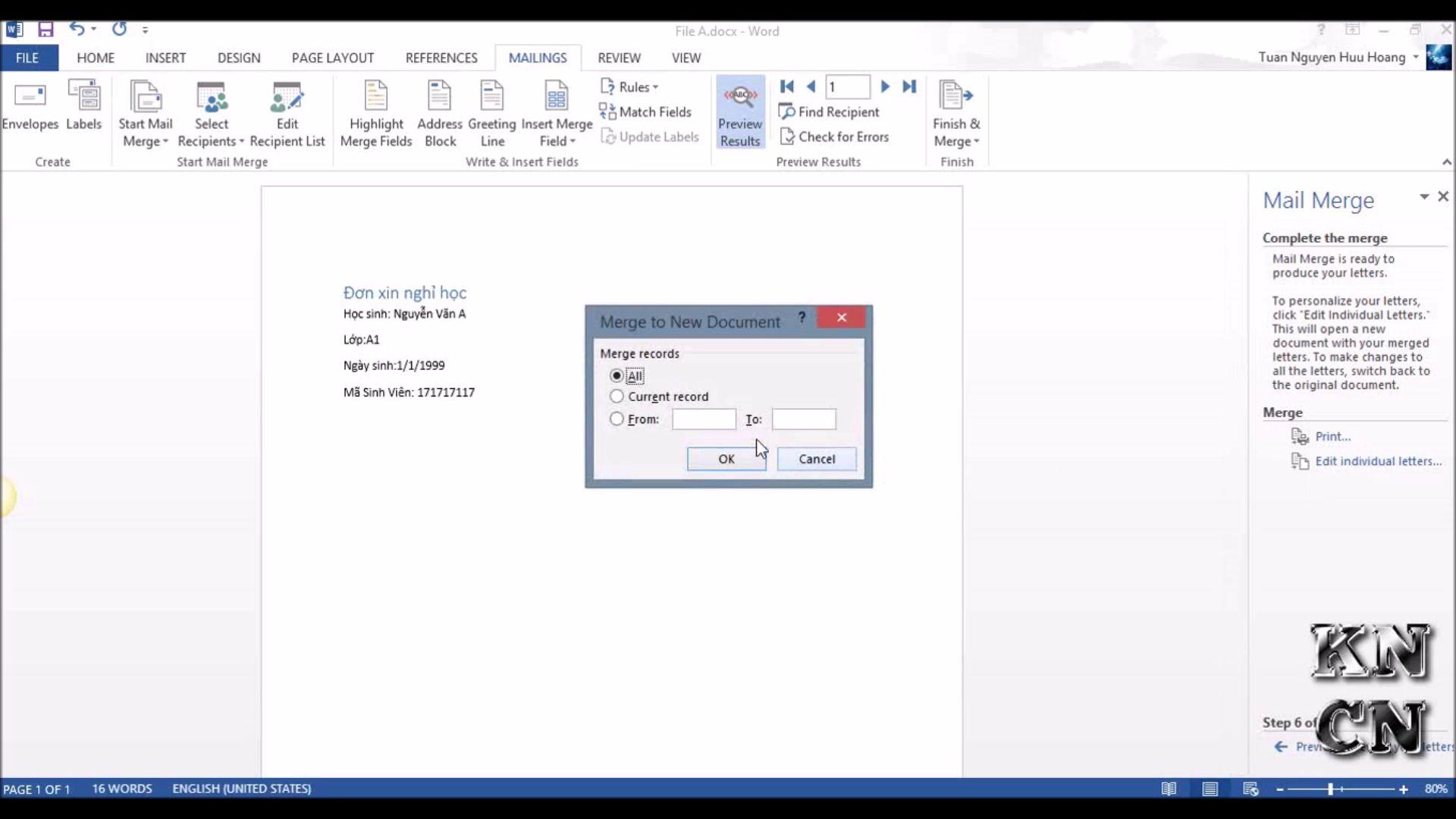 Trộn thư bằng Microsoft Word Mail Merge trộn văn bản