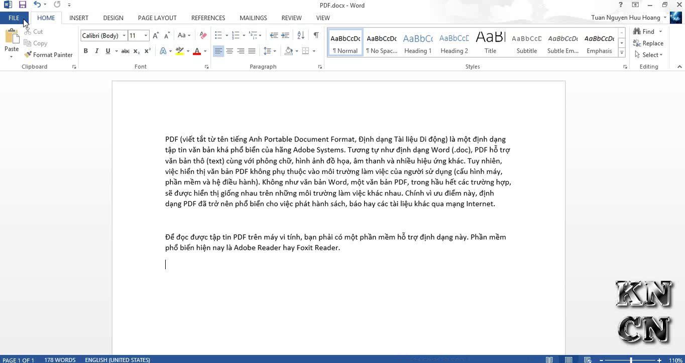 Chuyển file Word 2010, 2013 (doc, docx) sang PDF nhanh chóng đơn giản