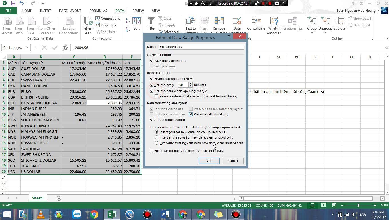 Tự động Cập nhật tỷ giá ngoại tệ trên Internet vào bảng tính cho Microsoft Excel 1