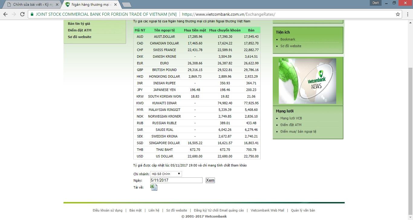 Tự động Cập nhật tỷ giá ngoại tệ trên Internet vào bảng tính cho Microsoft Excel