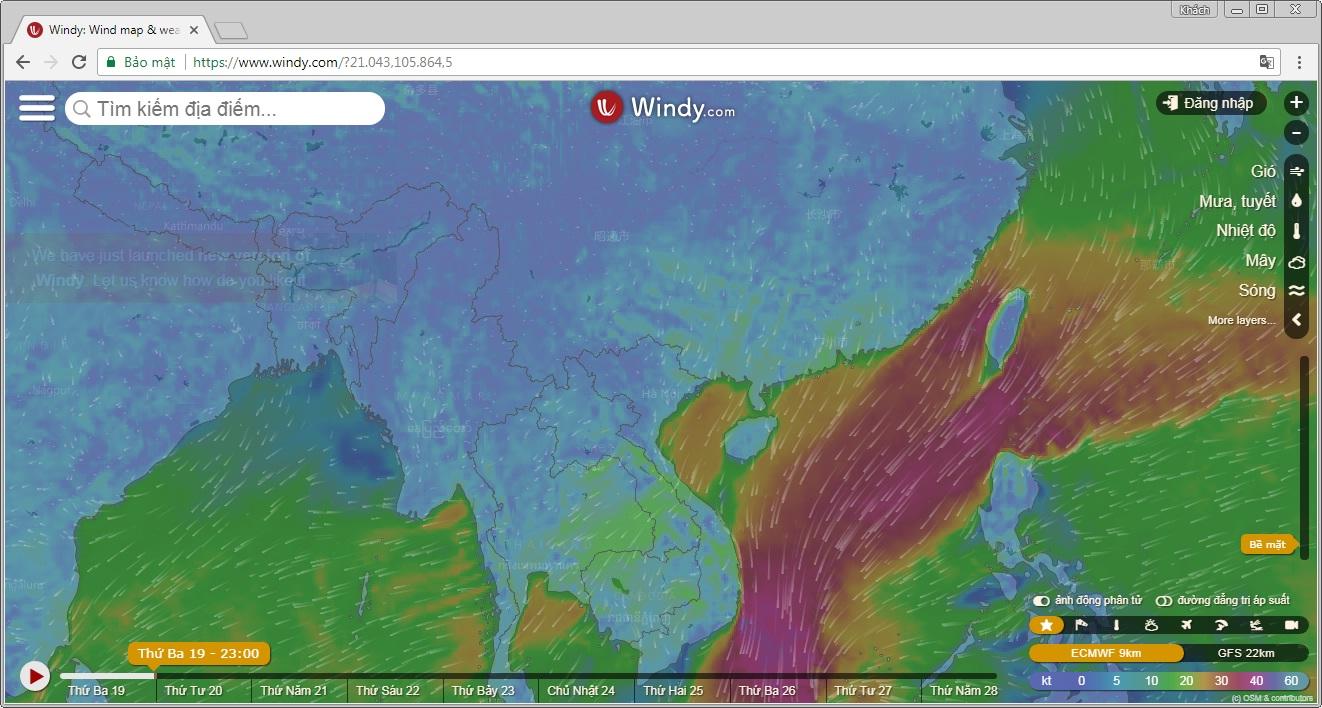 Xem dự báo thời tiết trực tuyến với Windy.com