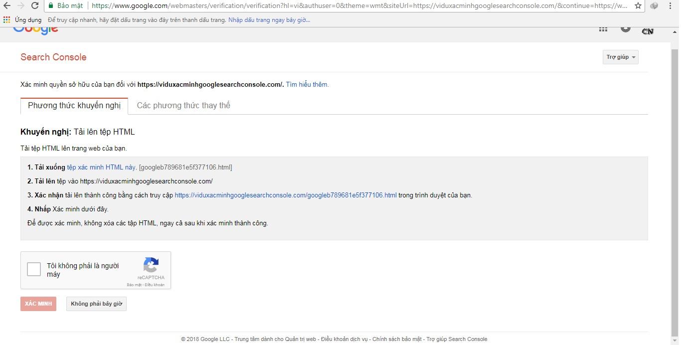 Các cách xác minh quyền sở hữu Google Search Console