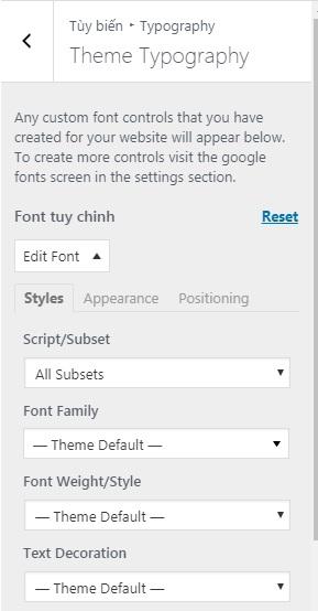 Thay đổi font trên bất cứ theme nào của WordPress