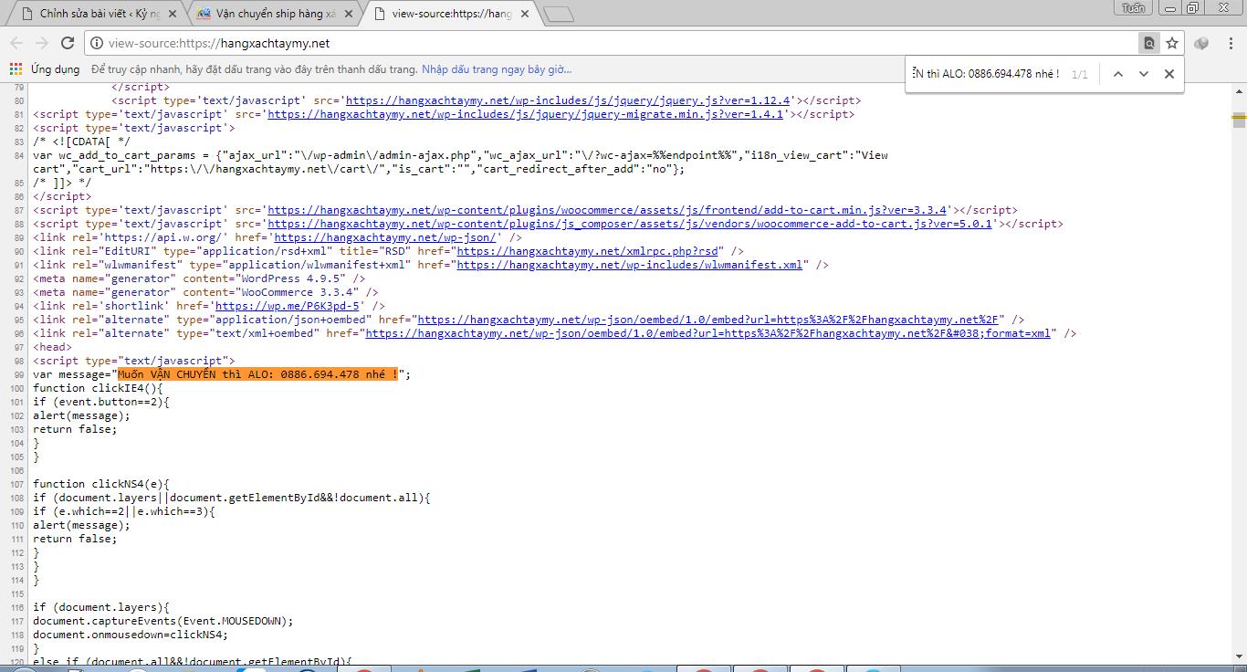 Code Bấm chuột phải tạo thông báo cho Website