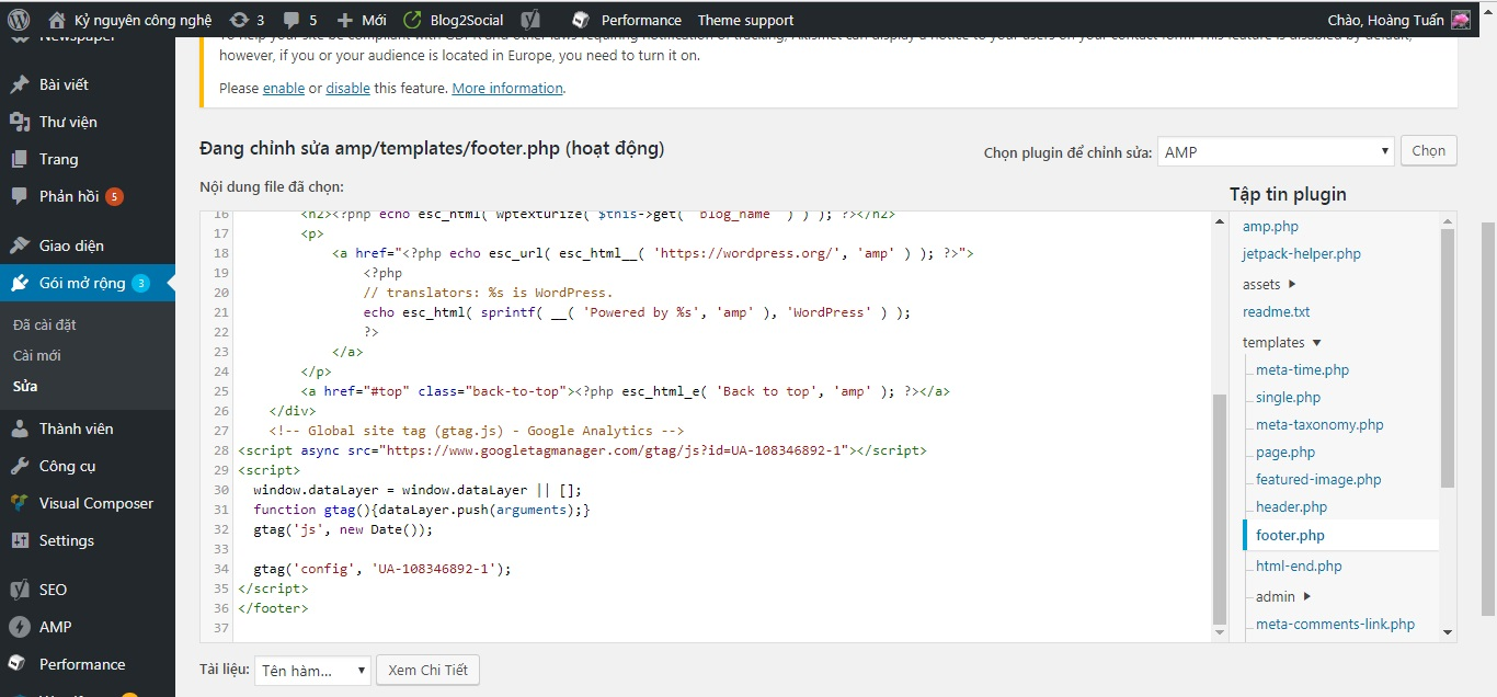 Cài code Analytics cho trang AMP