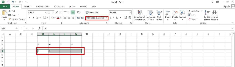 Lỗi khi gộp ô trong Excel