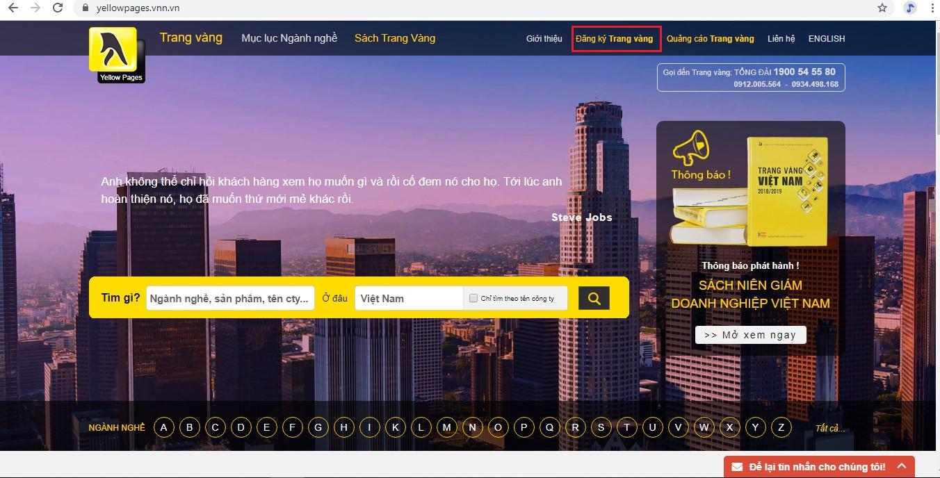 Hướng dẫn đăng ký Trang Vàng đơn giản cho doanh nghiệp
